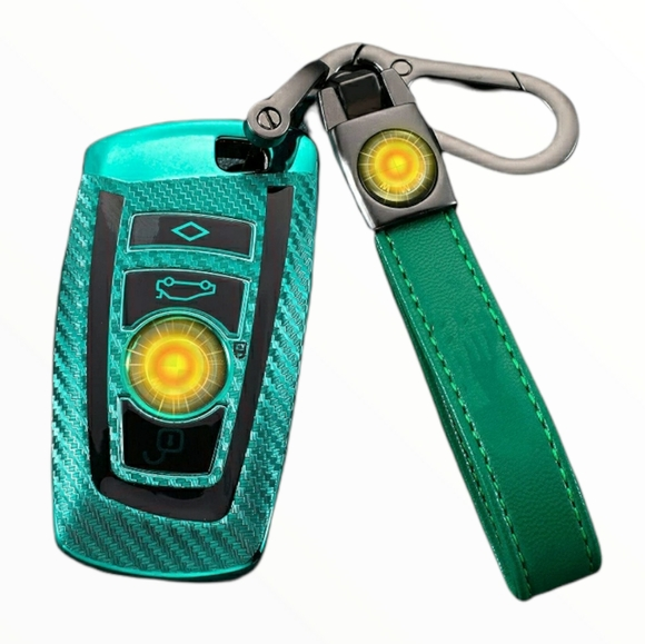 New Green BMW Key Fob Cover and Keychain Set